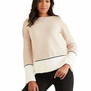 Ann Taylor colorblock boatneck sweater Ribbed